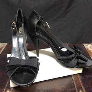 FENDI Black satin high heels